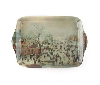 Mini Serviertablett, 21 x 14 cm, Winterlandschaft, Avercamp