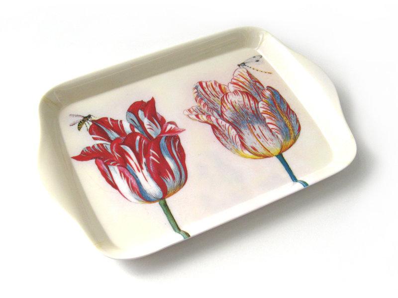 Minitablett, 21 x 14 cm, Zwei Tulpen mit Insekten, Marrel