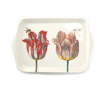 Mini bandeja, 21 x 14 cm, dos tulipanes con insectos, Marrel