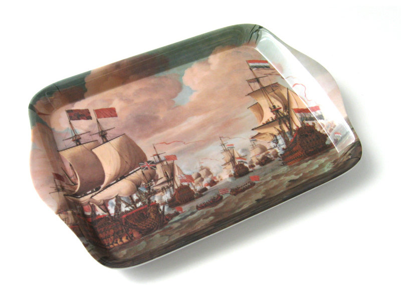 Mini plateau, 21 x 14 cm, Navires en mer, Van der Velde