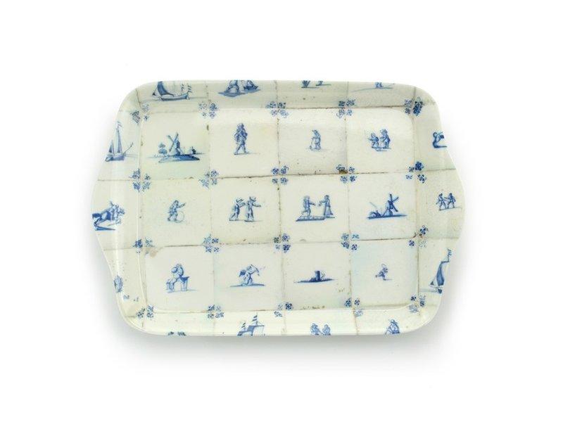Mini bandeja, 21 x 14 cm, azulejos azules de Delft