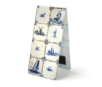 Marcapaginas magnético, azulejos azules de Delft