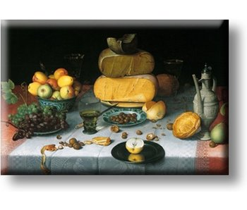 Fridge magnet, Still life with cheeses, Van Dijck