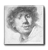 Koelkastmagneet, Zelfportret met verbaasde blik, Rembrandt