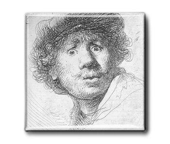 Aimant pour réfrigérateur, autoportrait au look surpris, Rembrandt