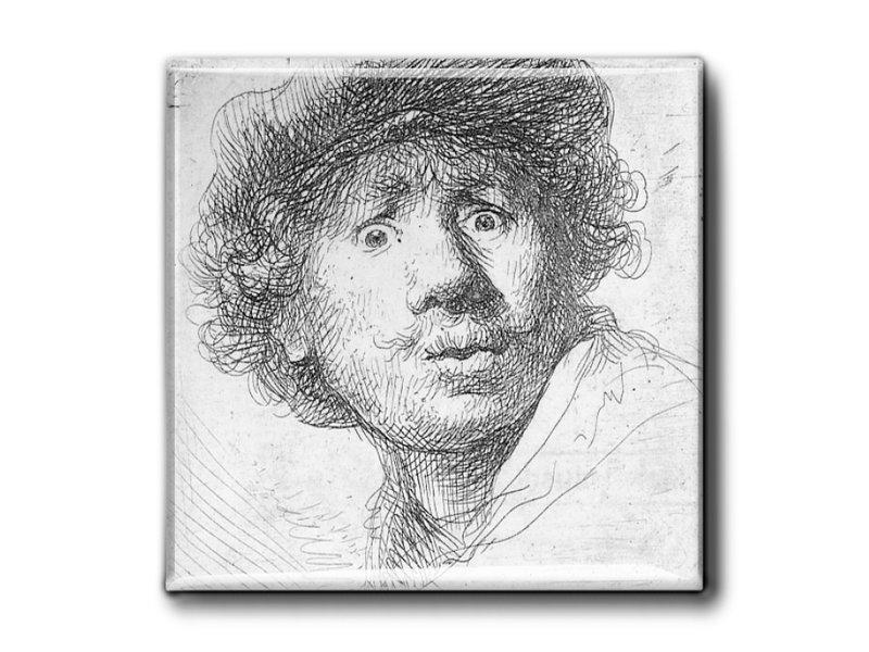 Aimant pour réfrigérateur, autoportrait au look surpris, Rembrandte