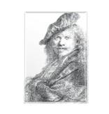 Imán de nevera, autorretrato apoyado en un alféizar de piedra, Rembrandt