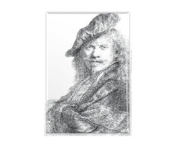 Magnet de réfrigérateur, autoportrait s'appuyant sur un rebord de pierre, Rembrandt