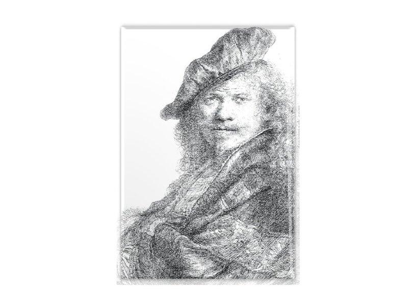 Koelkastmagneet, Zelfportret leunend op stenen dorpel, Rembrandt