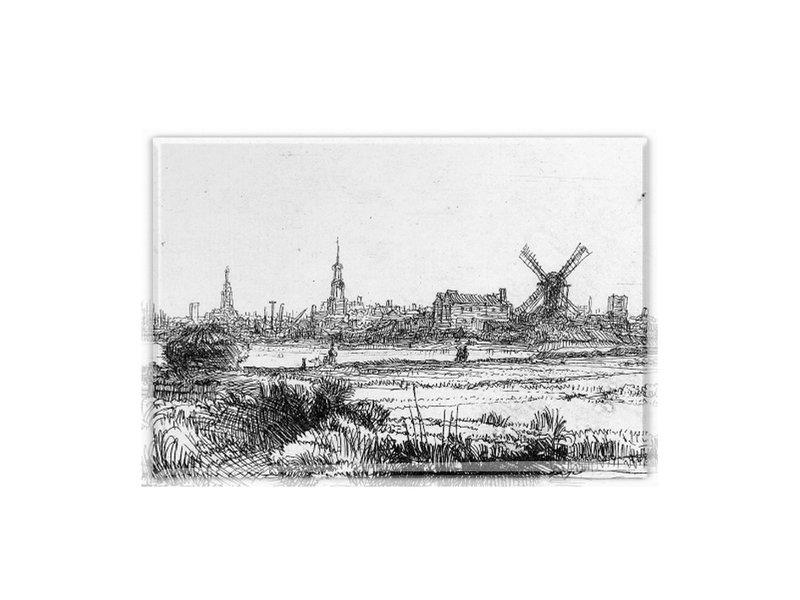 Koelkastmagneet, Gezicht op Amsterdam, Rembrandt