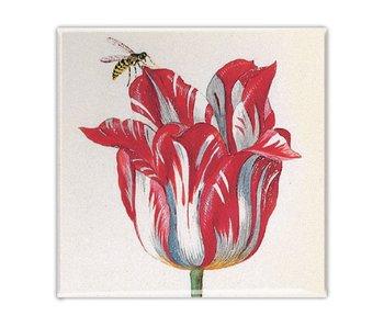 Kühlschrankmagnet, Rote Tulpe mit Biene, Marrel