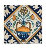 Imán de nevera, azulejo azul de Delft, florero