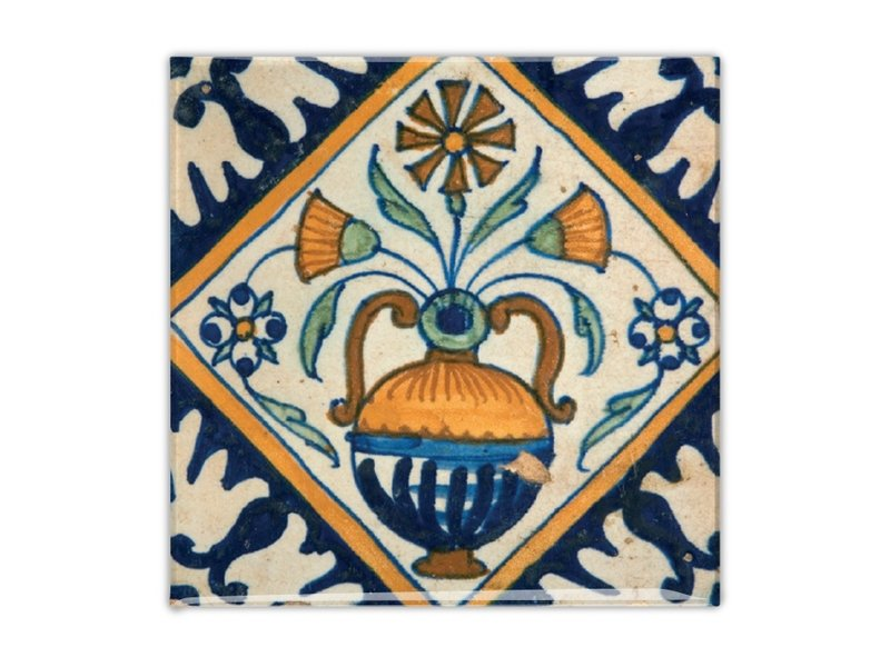 Aimant de réfrigérateur, carrelage bleu de Delft, vase à fleurs