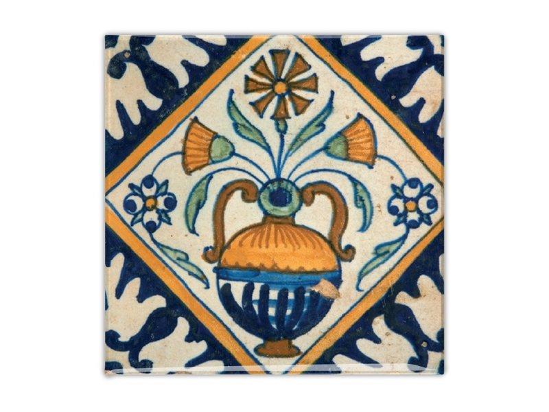Koelkastmagneet, Delfts blauwe tegel, Bloemenvaas