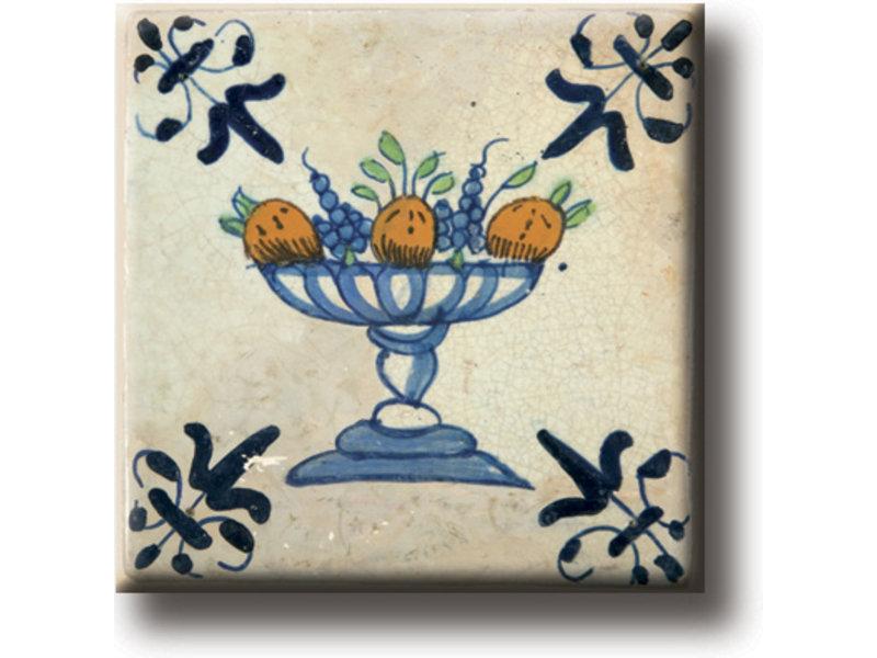 Koelkastmagneet, Delfts blauwe tegel, Fruit schaal
