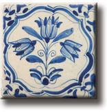 Koelkastmagneet, Delfts blauwe tegel, tulpen