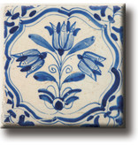 Kühlschrankmagnet, Delfter blaue Fliese, Tulpen