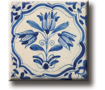 Imán de nevera, azulejo azul de Delft, tulipanes