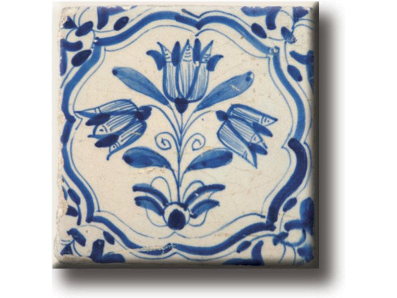Fridge magnet, Delft blue tile, tulips