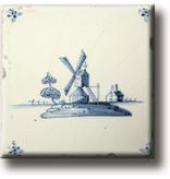 Aimant pour réfrigérateur, carrelage bleu de Delft, moulin