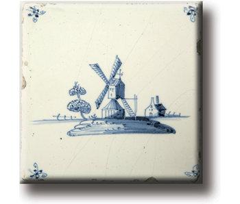 Magnet pour réfrigérateur, carrelage bleu de Delft, moulin
