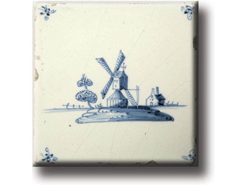 Fridge magnet, Delft blue tile, Mill