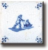 Kühlschrankmagnet, Delfter blaue Fliese, Schlittschuhe