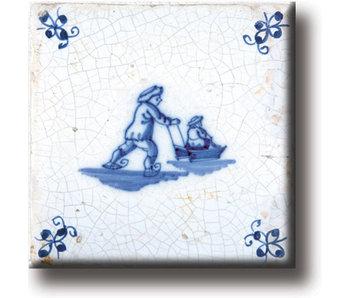 Fridge magnet, Delft blue tile, Ice skates