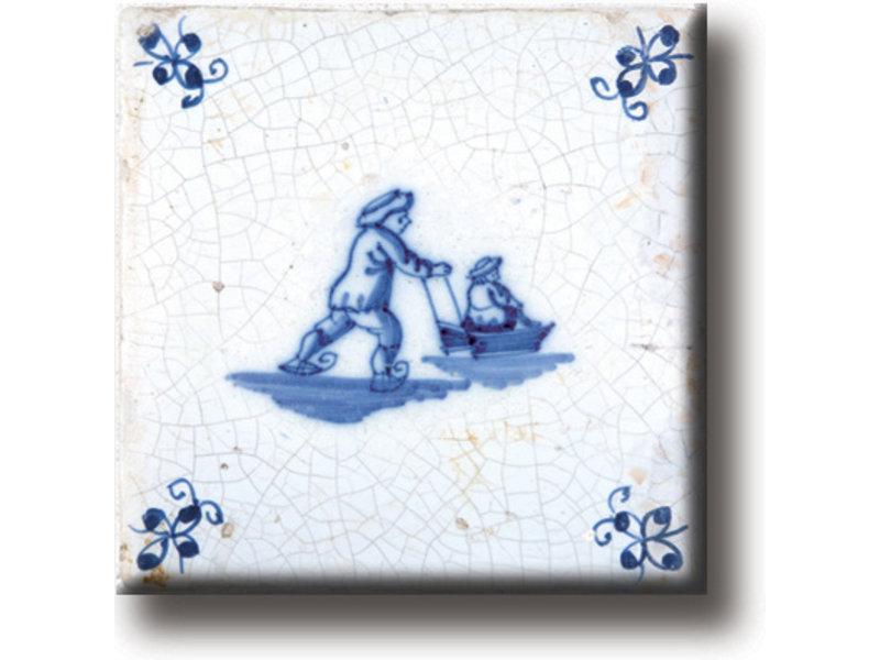 Koelkastmagneet, Delfts blauwe tegel, Schaatsen