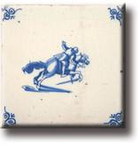 Aimant de réfrigérateur, tuile bleue de Delft, cheval et chevalier