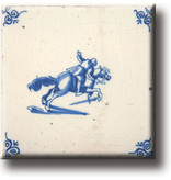 Fridge magnet, Delft blue tile, Horse and knight