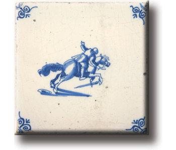 Imán de nevera, azulejo azul de Delft, caballo y caballero