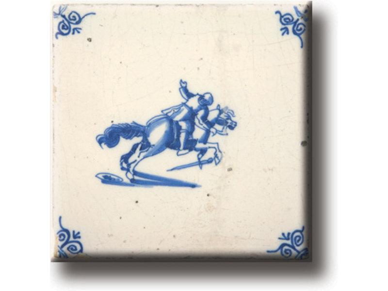 Kühlschrankmagnet, Delfter blaue Fliese, Pferd und Ritter