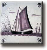Fridge magnet, Delft blue tile, Sailing ship
