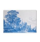 Fridge magnet, Delft blue tile, Dutch landscape