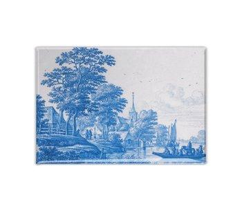 Aimant pour réfrigérateur, carrelage bleu de Delft, paysage hollandais