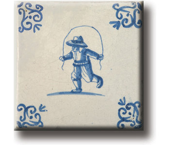 Imán de nevera, azulejo azul de Delft, juegos infantiles