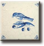 Magnet por frigo, carrelage bleu de Delft, oiseau