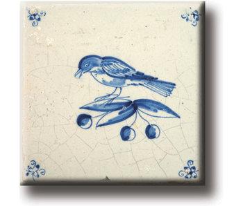 Magent pour réfrigérateur, carrelage bleu de Delft, oiseau
