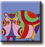 Koelkastmagneet, Hippo, Illustratie