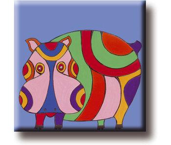 Aimant de réfrigérateur, Hippo, Illustration