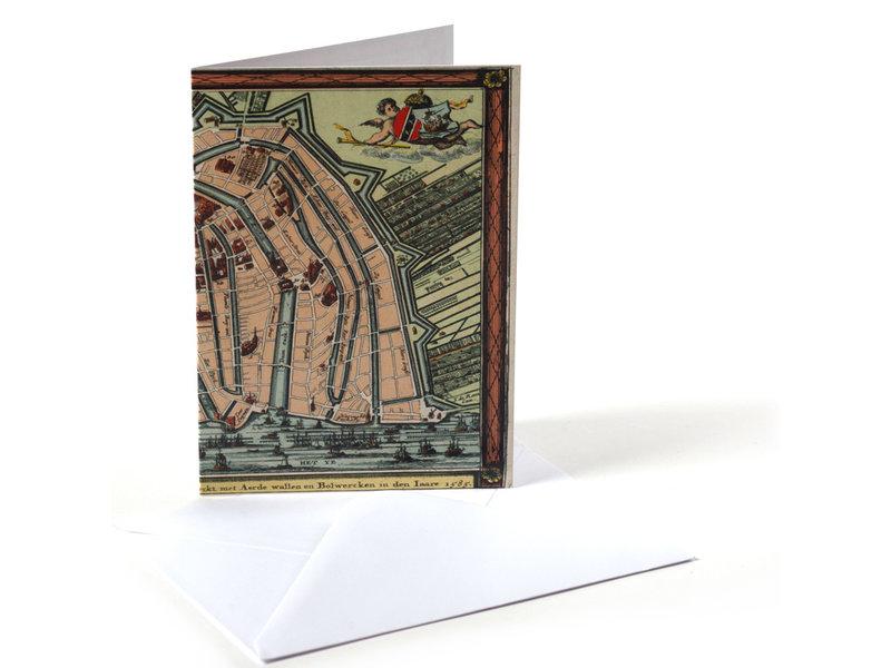 Doble tarjeta, Carte historique Amsterdam 1585