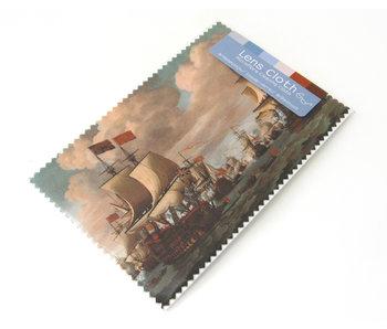 Lens cloth, 10 x 15 cm, Ships at sea, Van de Velde