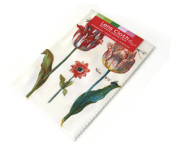 Lens cloth, 10 x 15 cm, Two tulips with insects, Marrel