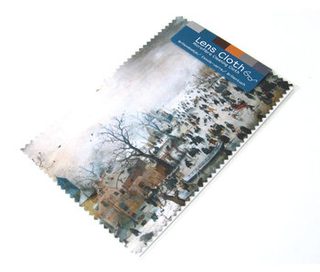 Lens cloth, 10 x 15 cm, Winter landscape with skaters
