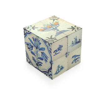 Cubo plegable, azulejos Delft Blue