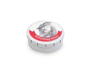 Peppermint tin, Leaning on a stone, Rembrandt