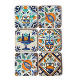 Coasters, Delft Polychrome tiles Flowers, Fruit