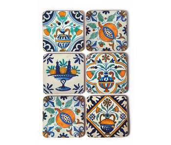 Coasters, Delft Polychrome tiles Flowers, Fruit
