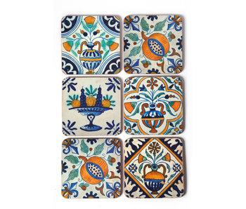 Posavasos, azulejos policromados de Delft Flores, Frutas